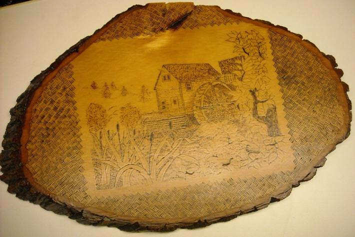 Old Water Mill Wood Burned Basswood Plaque