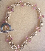 Byzantine chainmaille bracelet with Mauve seed beads