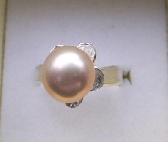 Pink Cultured Pearl Sterling silver Ring