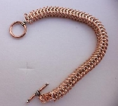 Mens Sterling silver and copper box chain bracelet