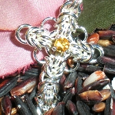 Sterling Celtic Cross with Citrine Center