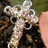 Sterling Celtic Cross with Rhodolite Garnet Center