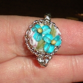 Garden of Bliss Chainmaille Ring - Turquiose Forget me Nots
