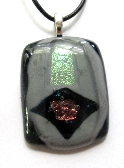 Sparkle Dark Navy Pink and Grey Iridescent Fused Glass Pendant