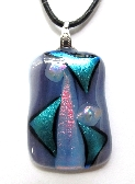 Light Purple and Turquoise Pink Fused Glass Pendant