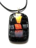 Black and White Striped Orange Squares Fused Glass Pendant