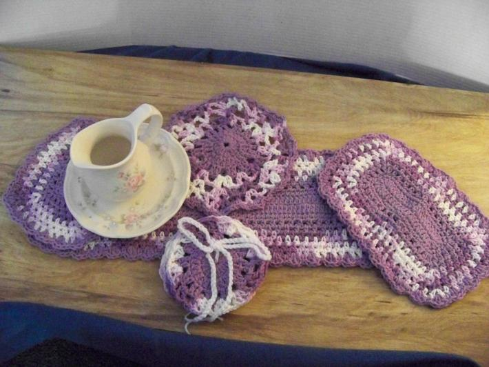 Hand Crocheted Doily Set Pansy Lavender Mixed Colors Lilac Middle and Ruffle No16