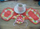 Hand Crocheted Doily Set Pink Lemonade Coral Mixed Colors Coral Middle and Ruffle No18