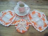 Hand Crochet Doily Set Poppy Orange White Cream with Cream on the Middle and Edge No31