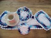 Hand Crocheted Doily Set Blue Moon Ombre Mixed Colors White Middle and Ruffle  No48