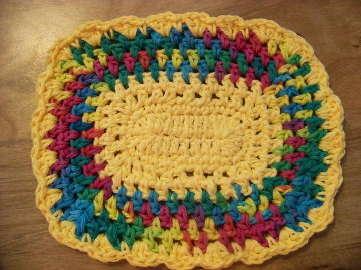 Hand Crocheted Doily Set Rainbow Mixed Colors Yellow Middle and Ruffle  No82