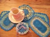 Hand Crochet Doily Set Ocean Stripe Bright Blue Mix Colors Middle and Ruffle No23