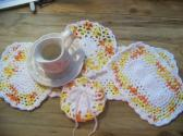 Hand Crochet Doily Set Creamsicle Orange Yellow White Mix Colors White Middle and Ruffle No49