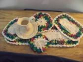 Hand Crocheted Doily Set Rainbow Color Mixed Colors Cream Middle and Ruffle No62