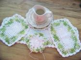 Hand Crochet Doily Set Limeade Light Green White Mix Colors White Middle and Ruffle No 25