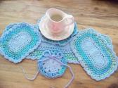 Hand Crochet Doily Set Aquamarine Ocean Light Blue Mix Colors Middle and Ruffle No 56