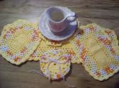 Hand Crochet Doily Set Creamsicle Orange Yellow White Mix Colors Yellow Middle and Ruffle No 61