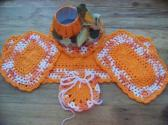 Hand Crochet Doily Set Halloween Colors with Bright Orange on the Middle and Edge No 50