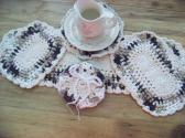 Hand Crocheted Doily Set Chocolate Cream Colors with Cream on the Middle and Edge No 53