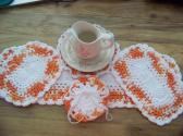 Hand Crocheted Doily Set Poppy Orange White Mixed Colors White Middle and Ruffle No 54