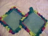 2 Hand Crocheted Jar Grippies Green Yellow Blues Red Green Grippy No 26 and 27