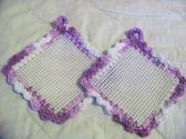 2 Hand Crocheted Jar Grippies Lavender and Purple over Cream Grippy No 42 and 43