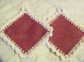 2 Hand Crocheted Jar Grippies Cream Burgundy Grippy No 68 and 69