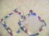 2 Hand Crocheted Jar Grippies Mauve Greens Blues Cream Grippy No 1 and 2