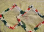 2 Hand Crocheted Jar Grippies Christmas Red White Green Cream Grippy No 5 and 6