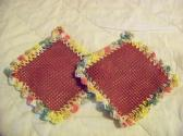 2 Hand Crocheted Jar Grippies Green Yellow Pink Burgundy Grippy No 58 and 59