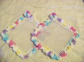 2 Hand Crocheted Jar Grippies Pink Yellow Green Cream Grippy No 78 and 79