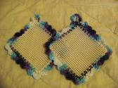 2 Hand Crocheted Jar Grippies Dark Light Blues Teals Purple White Cream Grippy No 13 and 14
