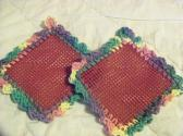 2 Hand Crocheted Jar Grippies Green Pink Yellow Purple over Burgundy Grippy No 52 and 53