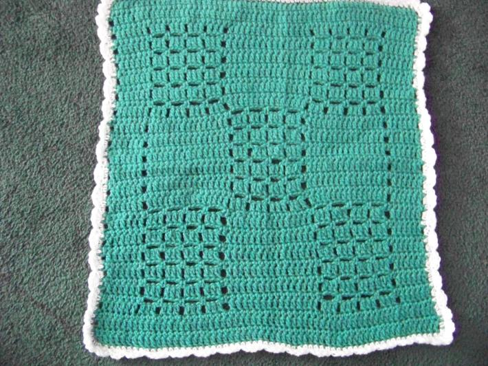 Baby Stroller Afghan Hand Crochet Teal with White Ruffle approx 22 by 20 Inches