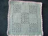 Baby Stroller Afghan Hand Crochet Light Green with White Ruffle aprox 22 by 20 Inch