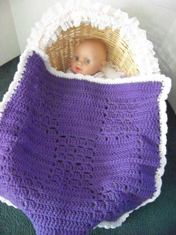 Baby Stroller Afghan Hand Crochet Deeo Purple with White Ruffle approx 22 by 20 In