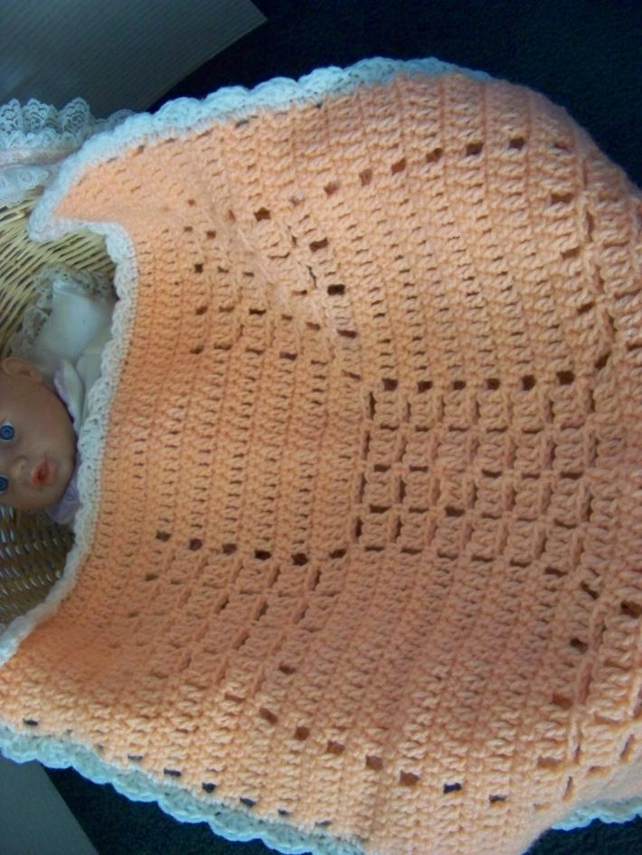 Baby Stroller Afghan Hand Crochet Peach with White Ruffle approx 22 by 20 Inch
