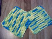 Hand Crocheted Dishcloths 2 in Set 100 percent Cotton Greens Blues Whites No 246  and 247