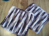 Hand Crocheted Dishcloths 2 in Set 100 percent Cotton Dark Brown Cream Beige No 402 and 403