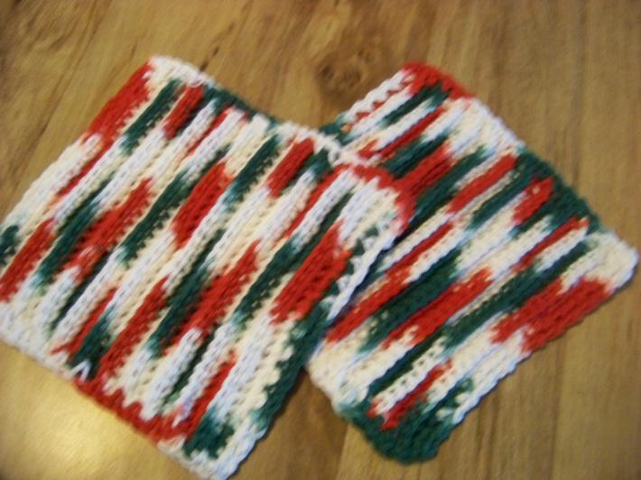 Hand Crocheted Dishcloths 2 in Set 100 percent Cotton Christmas Colors No 5 and 6