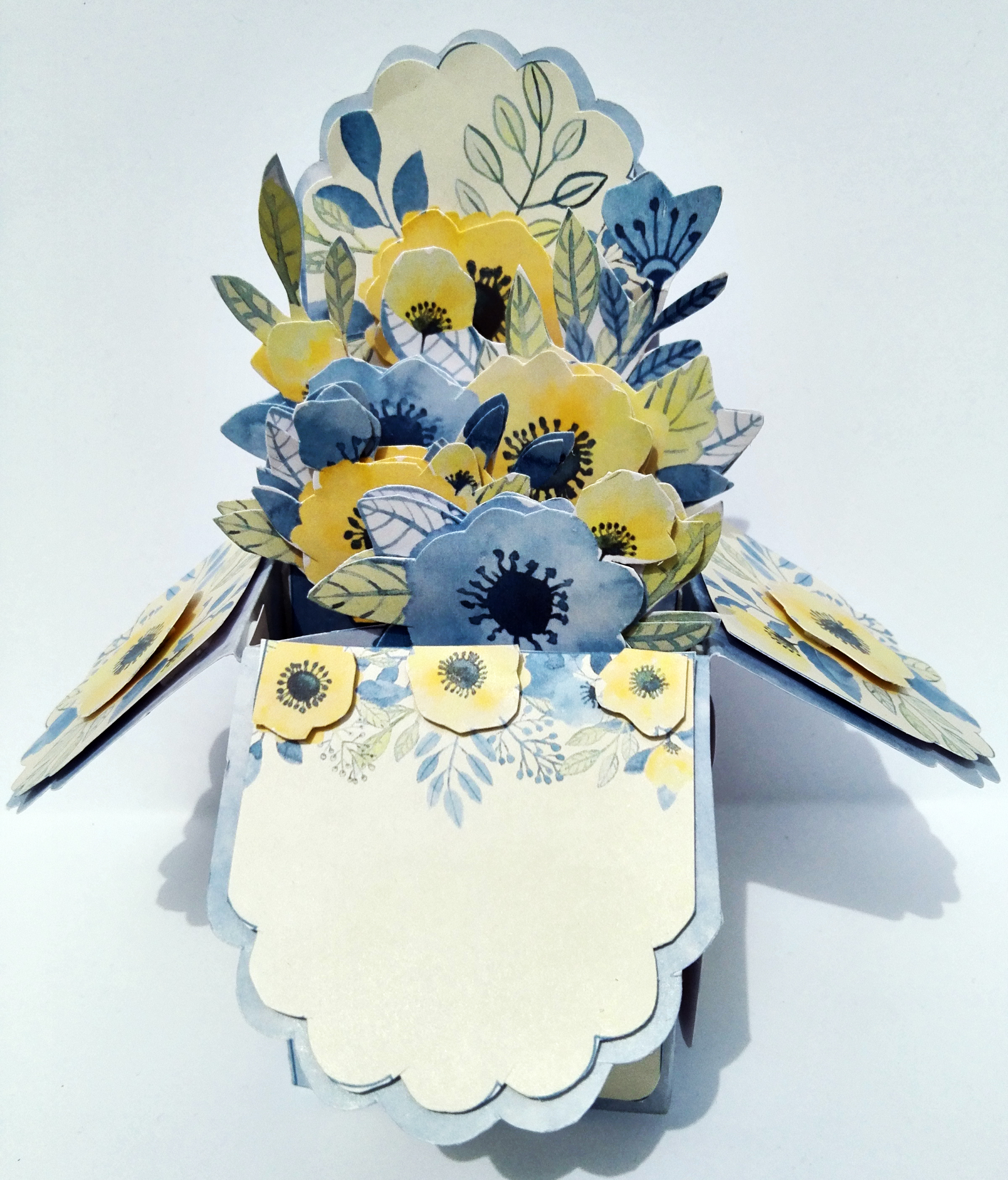 Pretty Any Occasion 3d Pop Up Greeting Card With Blue And Yellow