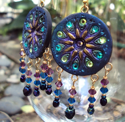 Black Magic Crystal Statement Gypsy Boho Earrings