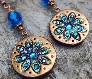 Teal and Bronze Floral Disc Earrings with Antique Copper and Crystals