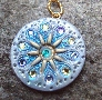 SNOW QUEEN Silver Blue and Gold Medallion Pendant