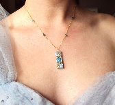 SOMETHING BLUE Fairy Tale Bridal 14K Wedding Necklace