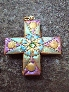 CELEBRATION Gold Purple and Green Cross Pendant