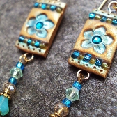 Crystal Faerie Gold and Teal Flower Earrings