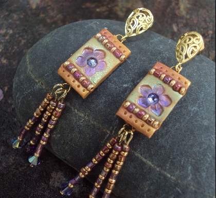 Autumn Copper and Purple Crystal Flower Boho Earrings