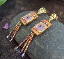 Autumn Copper and Purple Crystal Flower Boho Earrings