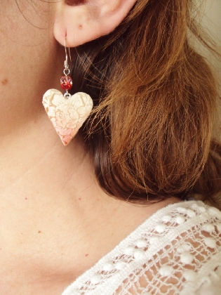 Loves First Blush Red tipped Heart Earrings Valentines Day